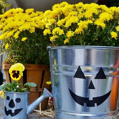 Galvanized buckets decorated for Halloween.