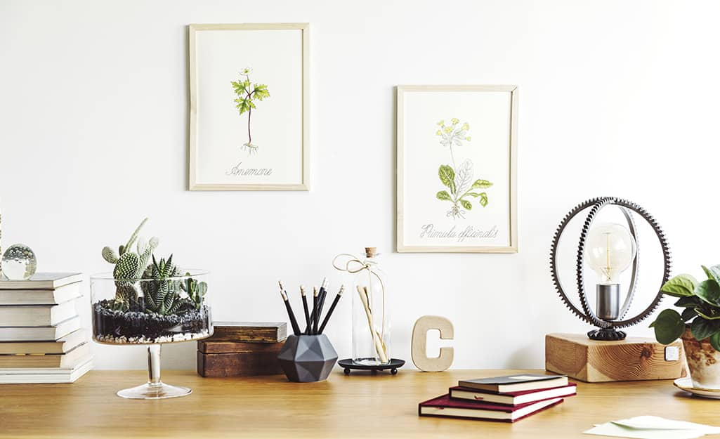 Wood desktop with a terrarium, books and a metal and wood lamp