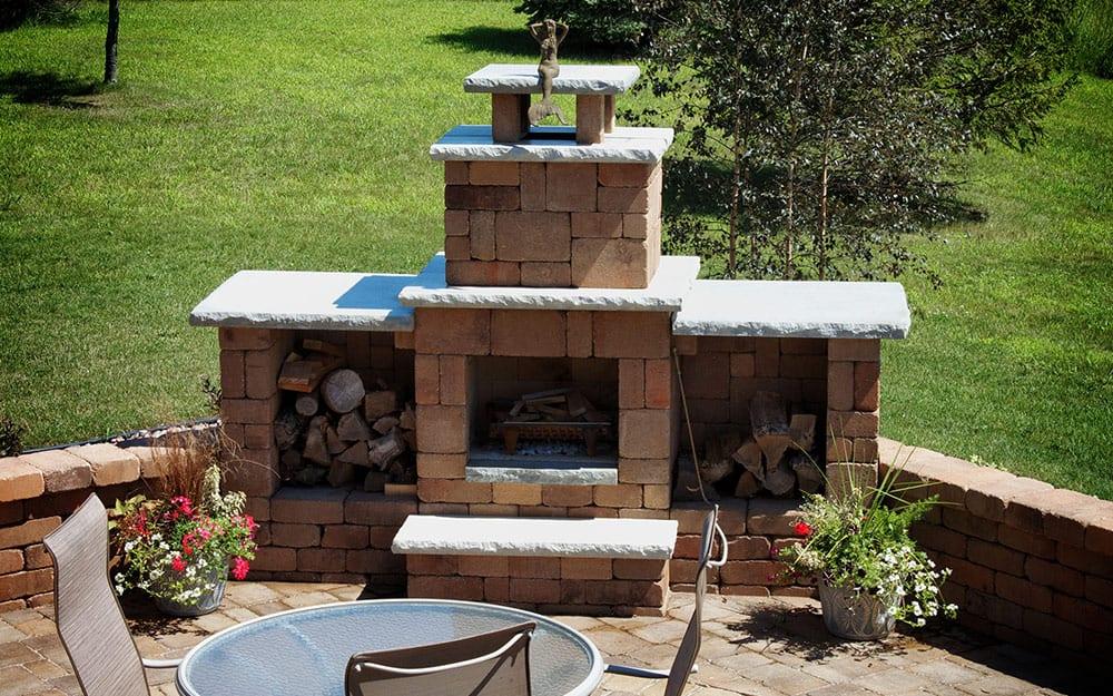 Outdoor Fireplace Ideas The Home Depot, Outdoor Brick Fireplace Designs Ideas