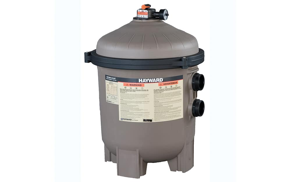 A pool filter on a white background