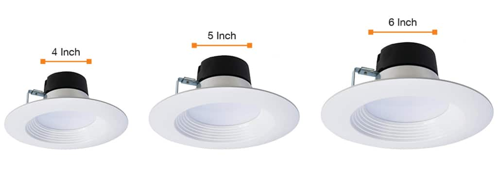 A size comparison of 4-inch, 5-inch and 6-inch recessed lights.