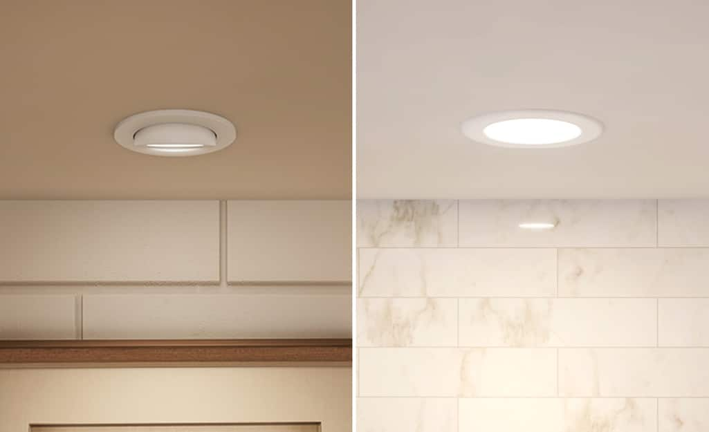 A soft recessed light on the left compared to a daylight recessed light on the right.