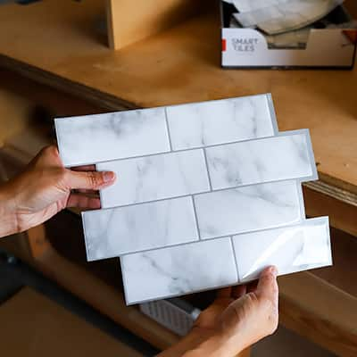 Renter-Friendly DIY Faux Fireplace With Smart Tiles