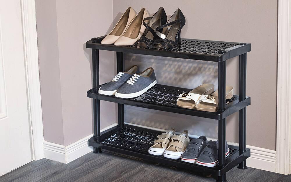 A shoe rack with organized shoe storage