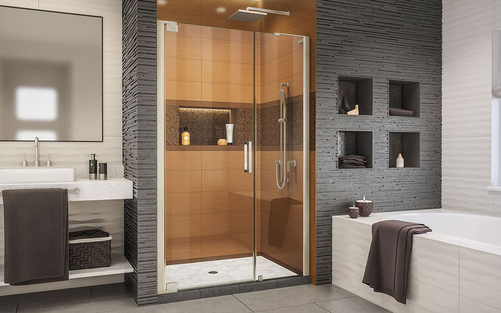 A bathroom with a walk-in shower that has a pivot shower door.