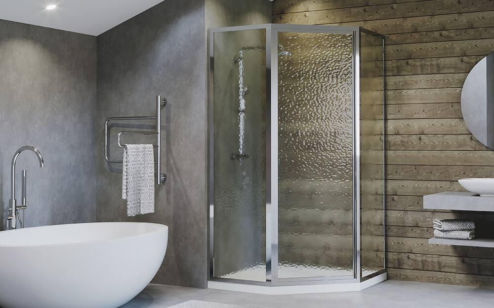 A modern bathroom with a neo-angle shower.
