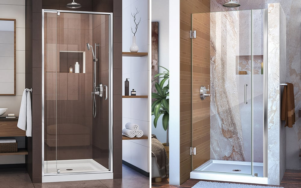 A comparison of a shower with a framed door and a shower with a frameless door.