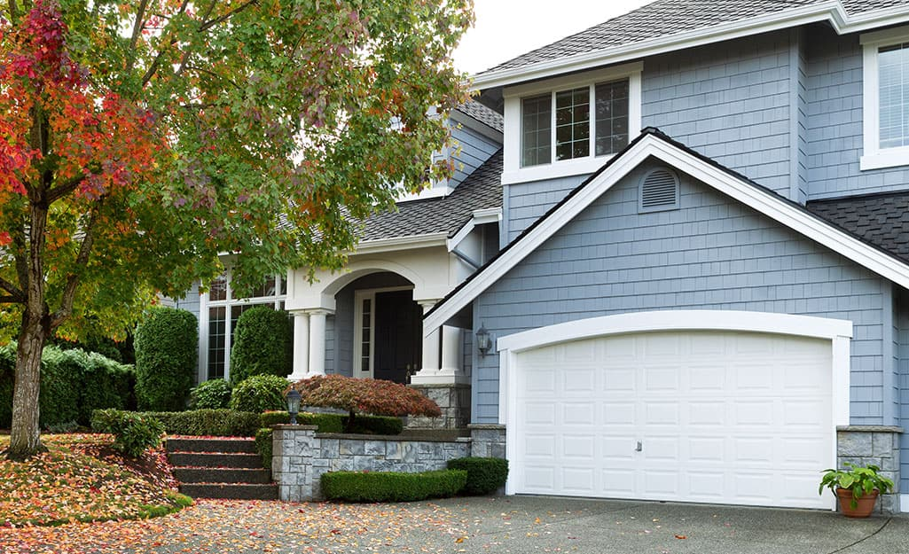A home with a double-size garage door.
