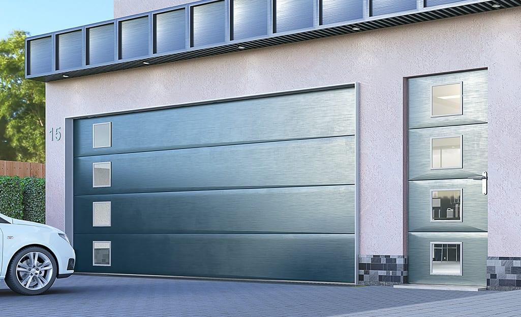 A home with a custom garage door.
