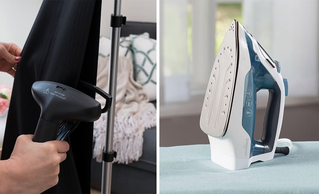 A hand holding a clothes steamer attachment toward a garment on the left; An iron standing upright on an ironing board to the right.