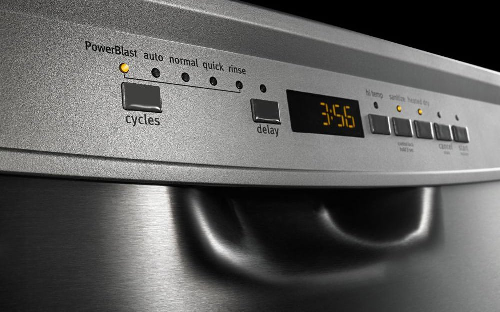 A control panel shows different dishwasher settings.