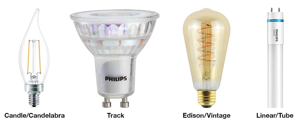 A profile of a candle, track, Edison and tube LED light bulb shapes.