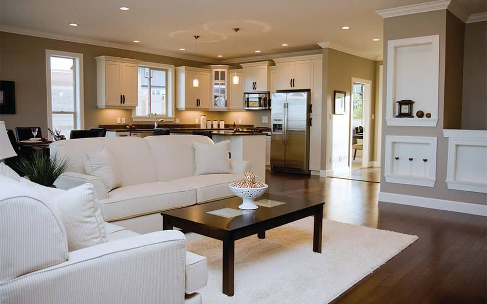 The inside of a home with recessed lights.