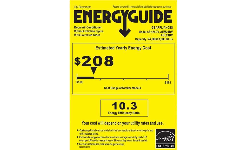 Example of a yellow Energy Guide sticker.