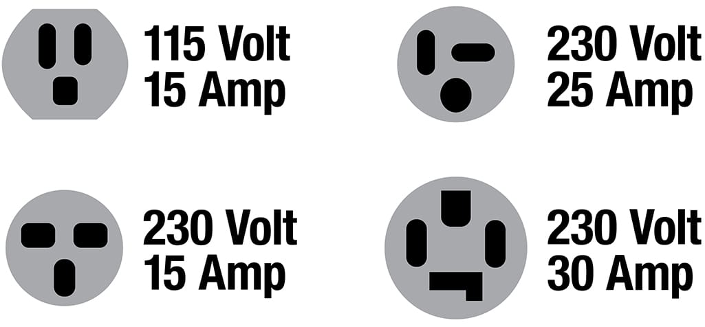 Illustration of four different types of air conditioner plug ins.