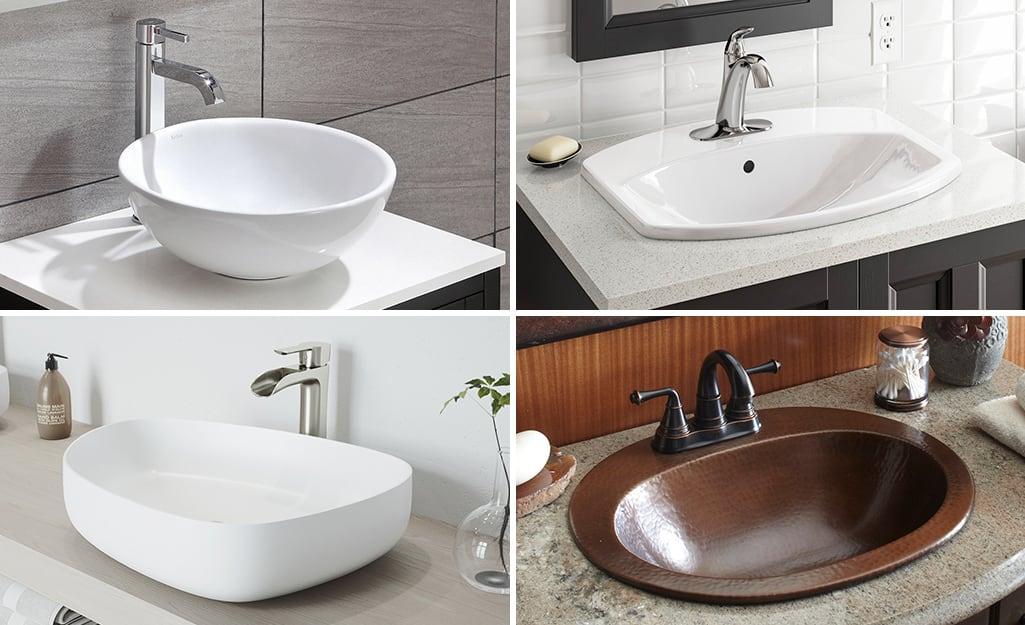 Types Of Bathroom Sinks The Home Depot, Average Bathroom Sink Size