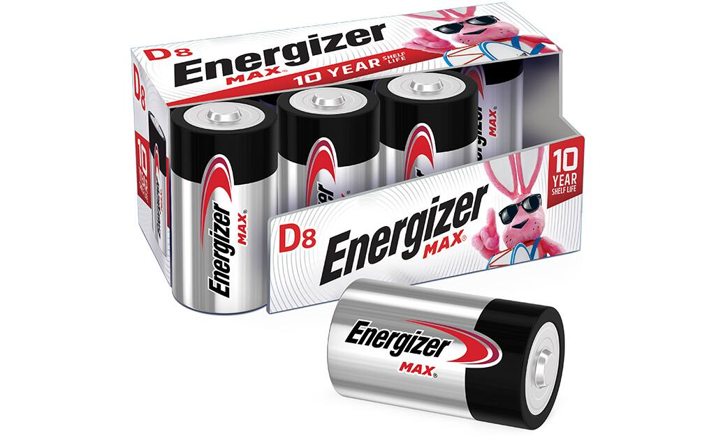 A package of D-cell alkaline batteries.