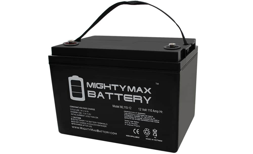 A sealed lead automotive battery.