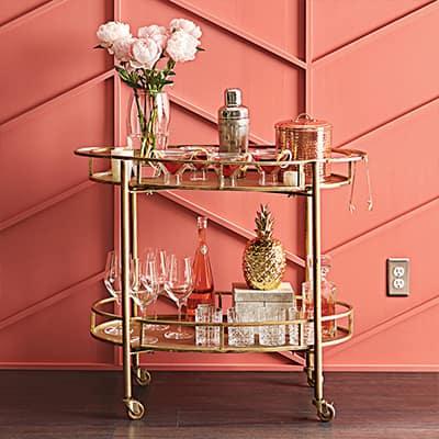 bar cart and barware