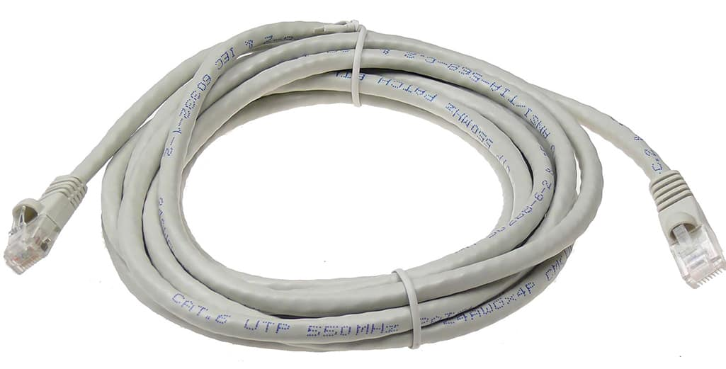 A coil of white ethernet cable with blue labeling on the sheathing.