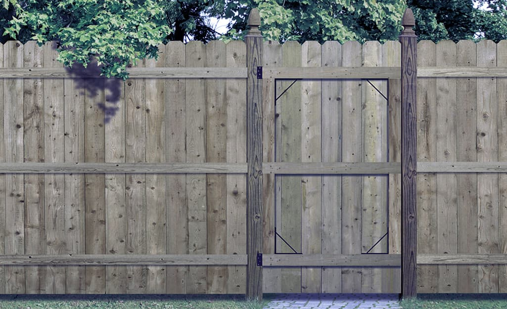 A wood privacy fence and gate.