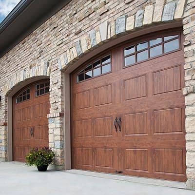 collage of different garage door types
