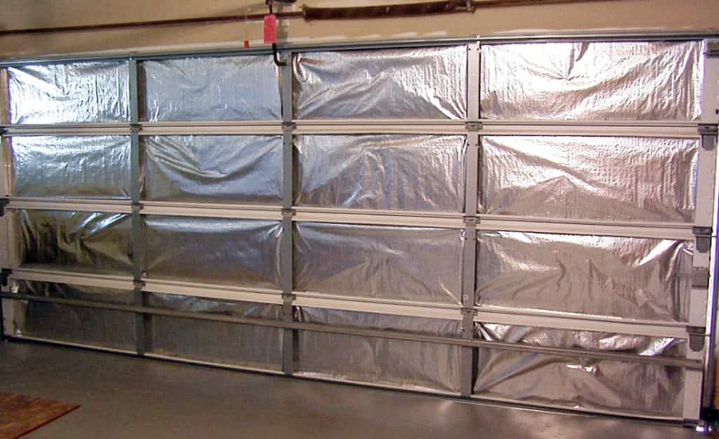 A garage door with radiant barriers.