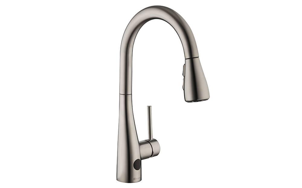 A single handle kitchen faucet.