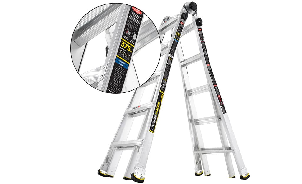 A step ladder with a label indicating its ladder duty rating.