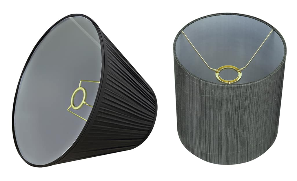 A lamp shade with an uno fitter.