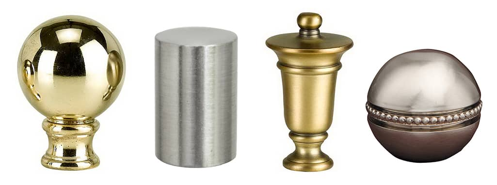 Different types of lamp shade finials on a white background.