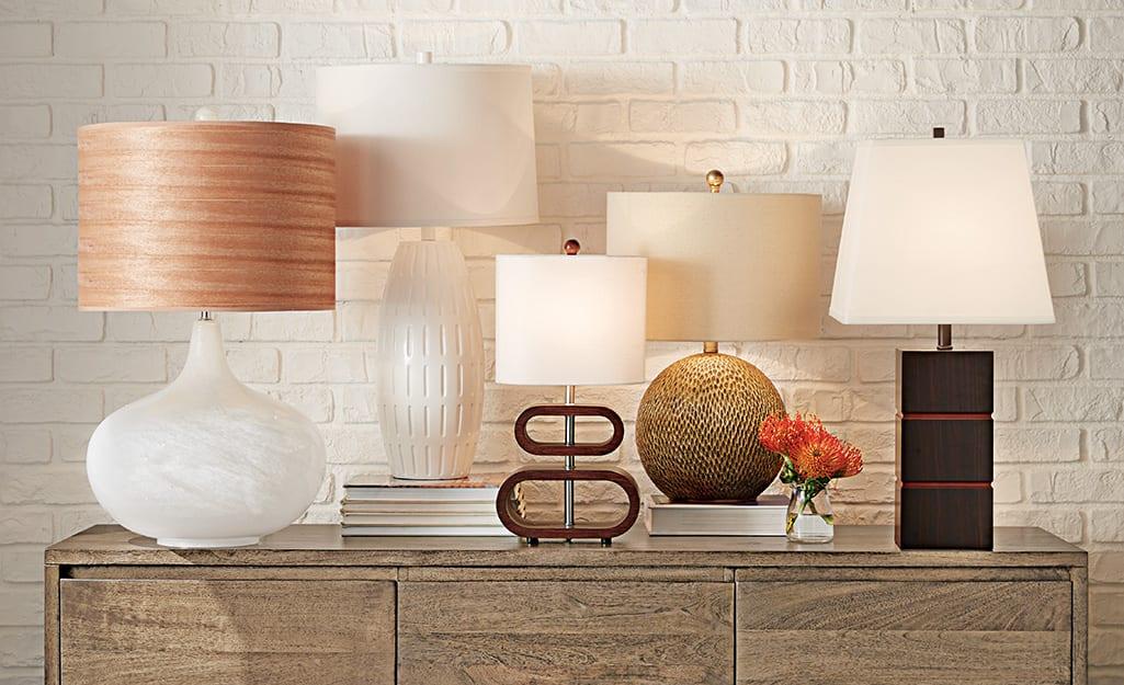 A variety of lamp shade and lamp shapes.