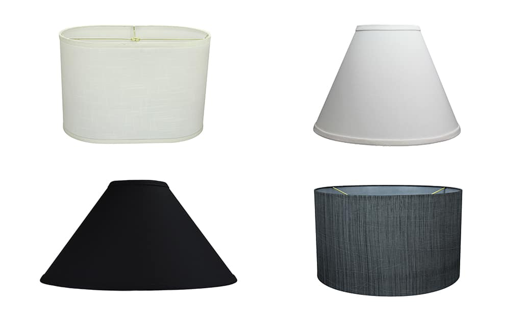 Several types of round lamp shades on a white background.