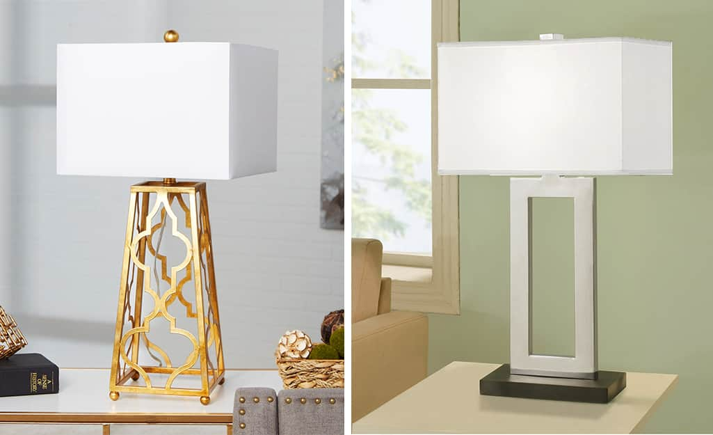 Two metal lamps with square lamp shades.