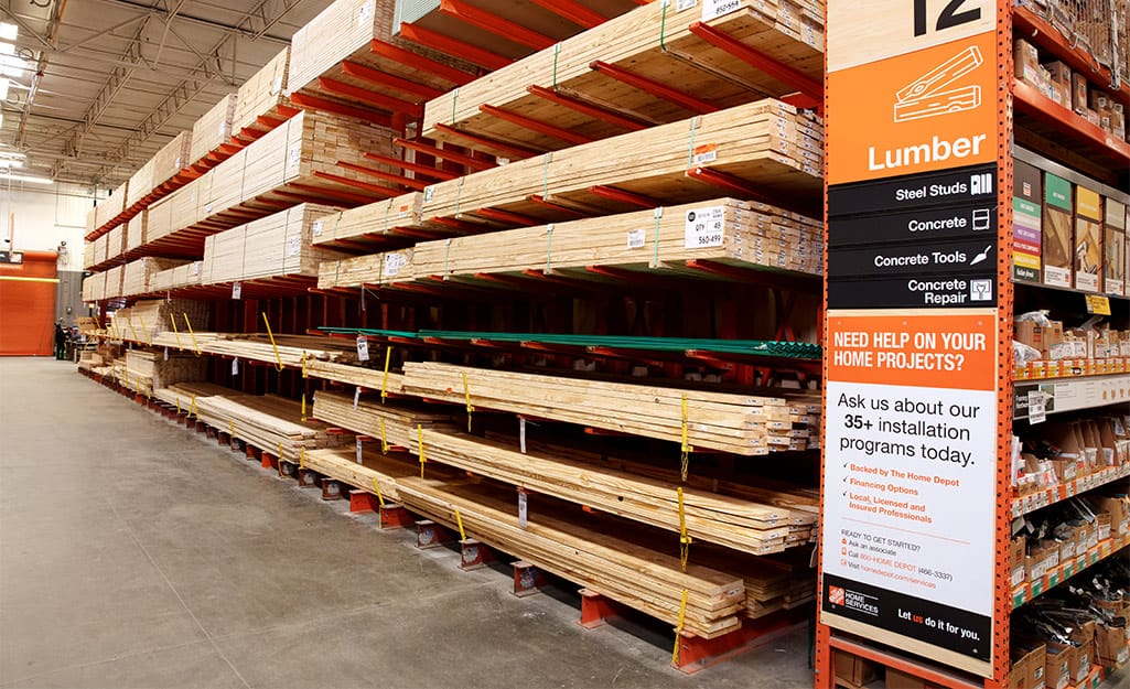 Plywood panels in the lumber section of The Home Depot.