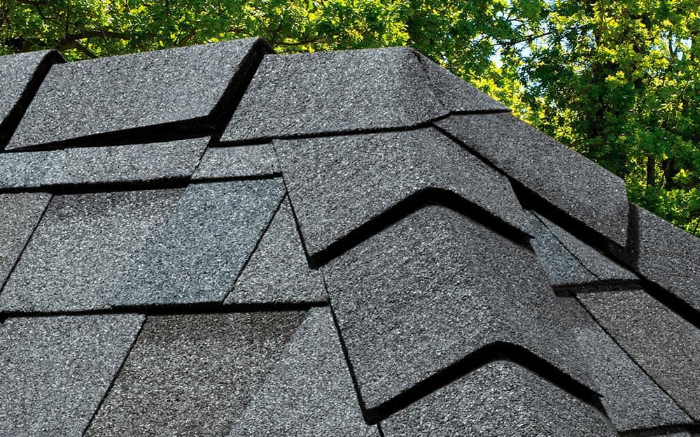 A close-up shot of asphalt shingles.