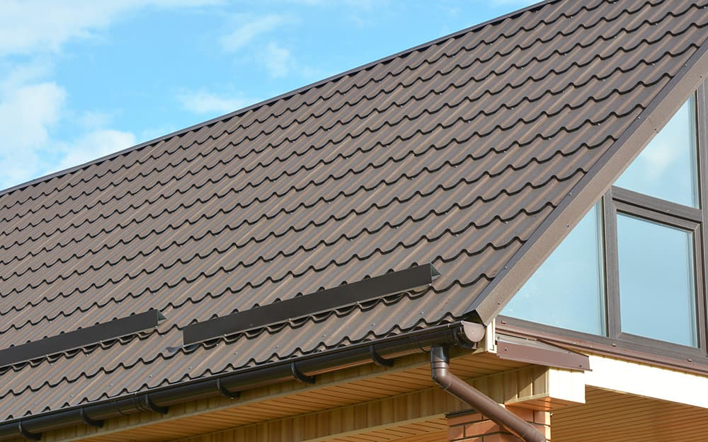 A detailed shot of a metal roof.