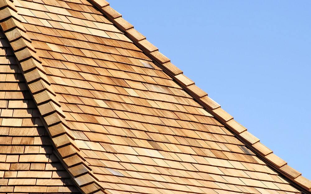 A close-up shot of a a wood roof.
