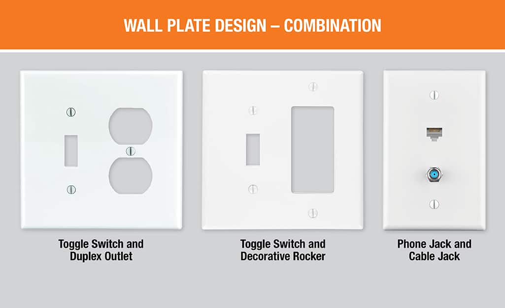 A diagram showing three types. of combination wall plates, including a toggle switch and duplex outlet plate, a toggle switch and decorative rocker plate and a phone and cable jack plate.