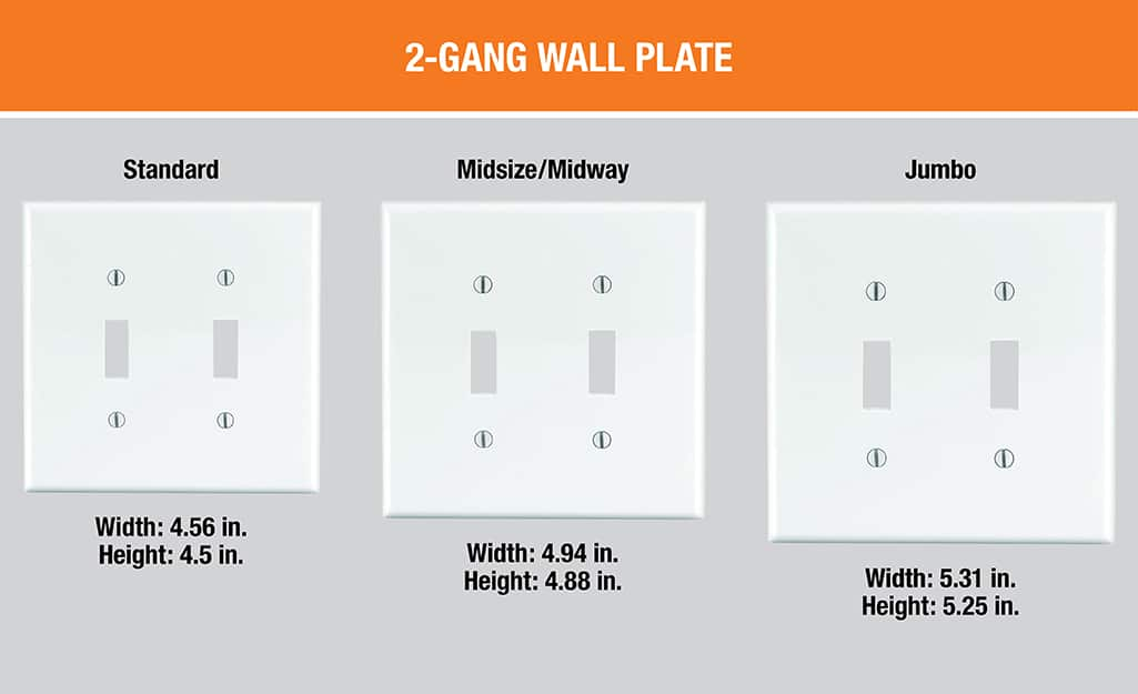 A diagram showing standard, midsize and jumbo 2-gang wall plates next to each other.