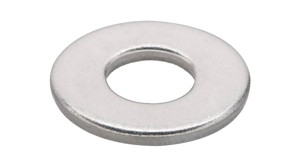 A plain flat washer on a white background.