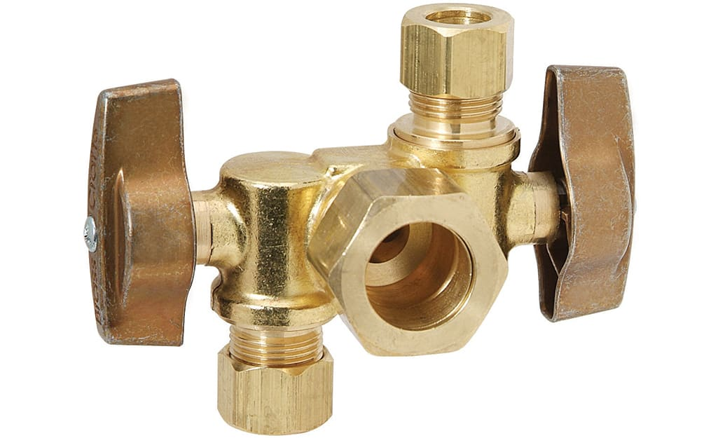 A dual-outlet quarter-turn shut-off valve that is made of brass.