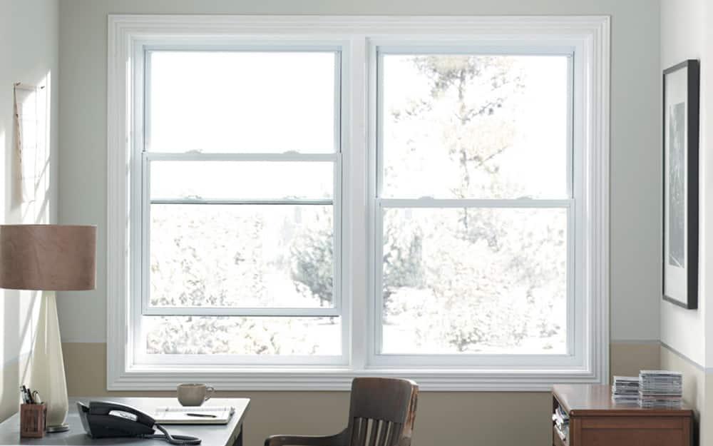 A vinyl window frame in an office.