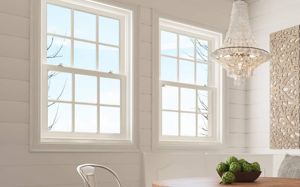 Aluminum window frames in a dining room.
