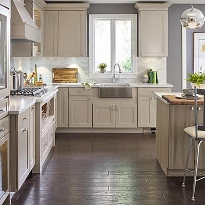 Wood finish coats a kitchen floor.