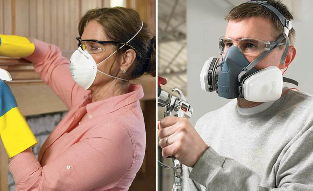 A side by side photo of a man and a woman wearing different types of respirators.