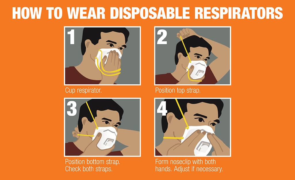 Graphic on how to wear a disposable respirator.