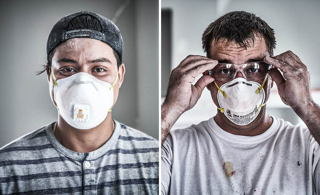 Two men wearing different types of masks.
