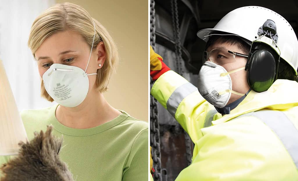 Side by side photos of a person wearing a dusk mask versus a respirator.