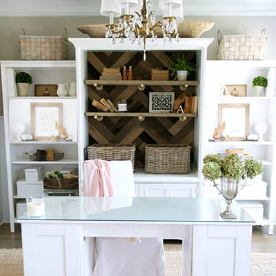 Upgrade an Old Armoire for a Weathered Wood Herringbone Look